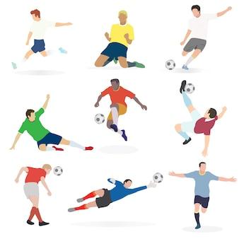 Набор футболистов во многих действиях.