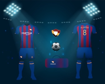 Set of soccer jersey or football kit
