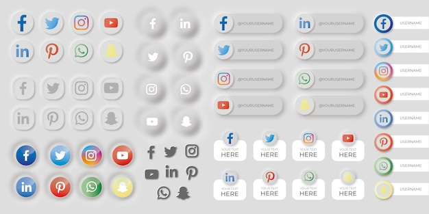 ニューモルフィックスタイルのソーシャルメディアボタンのセット