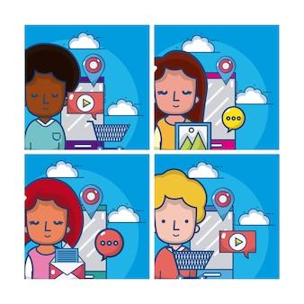 漫画とソーシャルメディアカードのセット