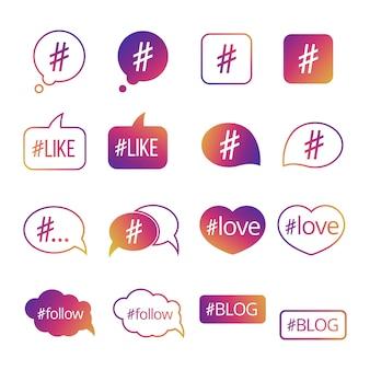 Набор социальных медиа красочный хэштег
