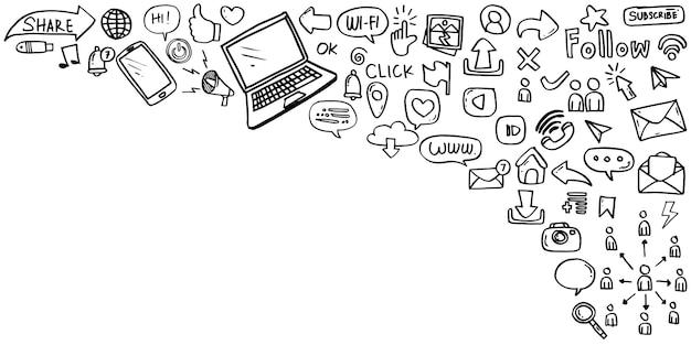 白い背景で隔離の手描きのソーシャルメディアアイコンのセットです。ベクトルイラスト。