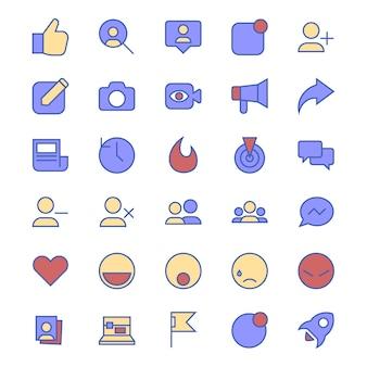 Набор значков значков социальных медиа