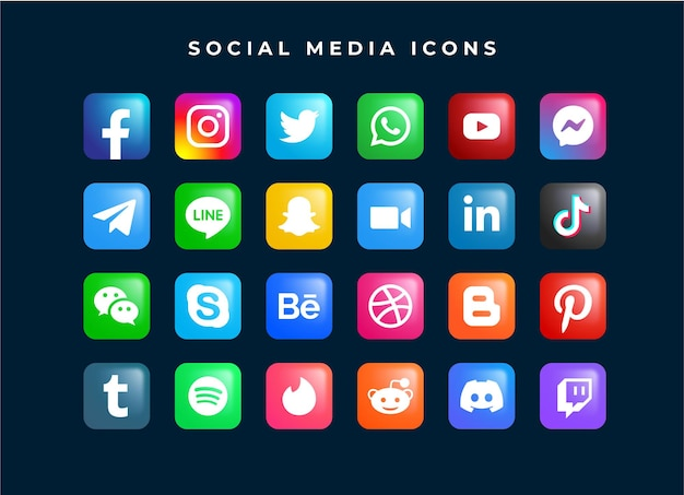 소셜 미디어 네트워크 로고 아이콘 템플릿 집합