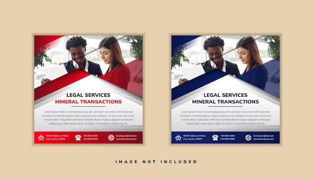 見出し付きのソーシャルメディア投稿テンプレートデザインのセットは、法律サービスの鉱物取引です