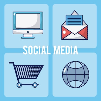 ソーシャルメディアの正方形のアイコンのセット