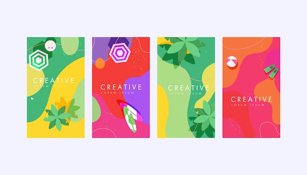 Набор фонов шаблонов дизайна историй социальных сетей с копией пространства