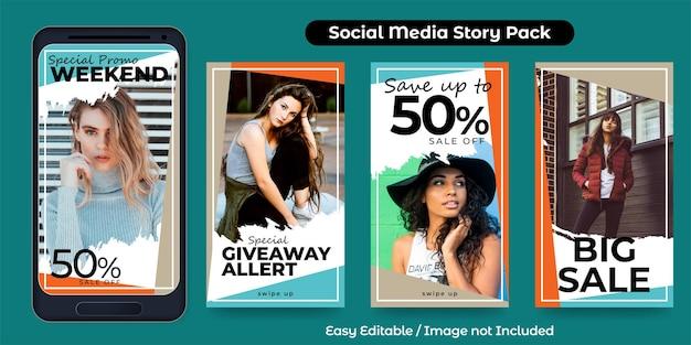 패션 프로모션을 위한 소셜 미디어 스토리 포스트 세트