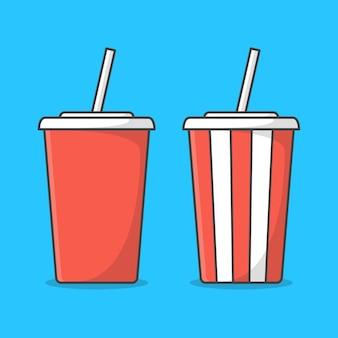밀 짚 일러스트와 함께 소 다 컵의 집합입니다. 소다 또는 차가운 음료를위한 빨간색과 흰색 컵. 일회용 소다 컵