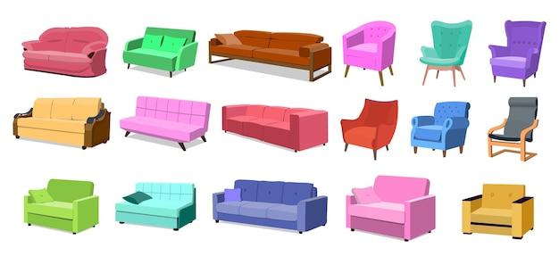 Комплект дивана. стулья и кресла, изолированные на белом фоне. мультяшный вектор плоский стиль иллюстрации eps