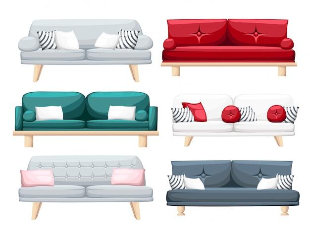 白い背景の上の枕が付いているソファーのセット