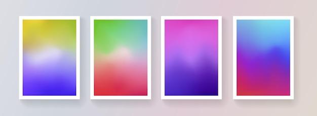 부드러운 색상 배경 벡터 디자인의 집합입니다. 추상 화려한 그라데이션 배경막 컬렉션입니다. 브로셔, 배너, 현수막, 표지에 대한 현대적인 템플릿입니다.