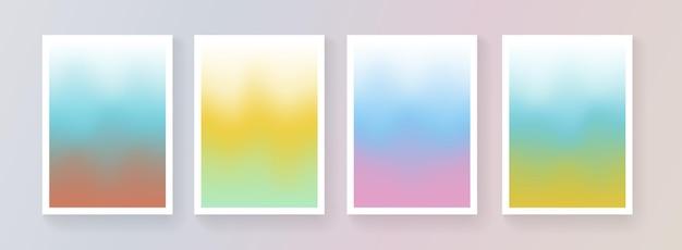 부드러운 색상 배경 벡터 디자인의 집합입니다. 추상적인 빛 다채로운 밝은 그라데이션 배경막 컬렉션입니다. 브로셔, 표지, 현수막, 배너에 대한 현대적인 템플릿입니다.