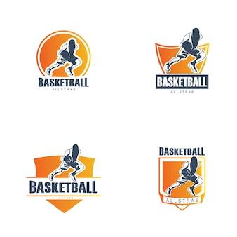 ソフトボール、バスケットボールの象徴的なロゴイラストのセット