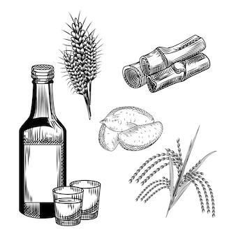 소주 세트. 한국 전통 알코올 음료. 밀, 고구마, 쌀, 대나무 줄기, 유리 잔, 병 보드카.