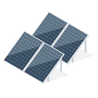 アイソメトリックスタイルの太陽電池パネルのセット。現代の代替エコエネルギーの概念。