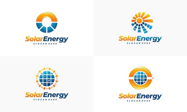 太陽エネルギーのロゴデザインのセット、サンパワーのロゴ