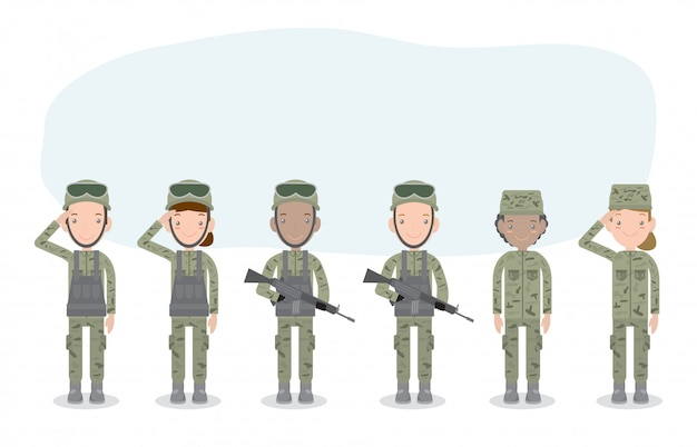兵士のセット。男と女。白で隔離フラット漫画のキャラクター。米軍、兵士の隔離された図。