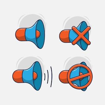 사운드 확성기 아이콘 그림의 집합입니다. 플랫 만화 스타일