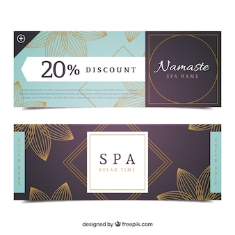 Set of spa center banners with flowers in monolines