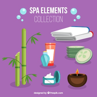 Set of spa center elements with candles and aromatic oils
