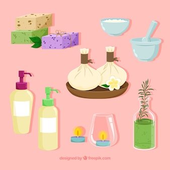 Set of spa elements with aromatic products
