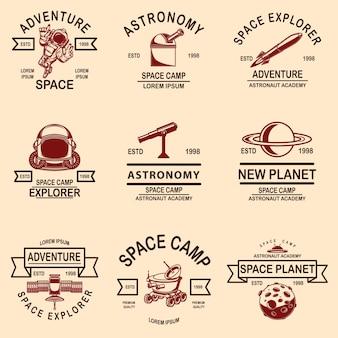 Набор шаблонов этикеток космического лагеря. элемент дизайна для логотипа, этикетки, знака, плаката, футболки.