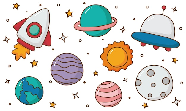 分離された宇宙アイコン惑星漫画スタイルのセット