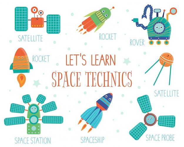 子供のための宇宙技術のセット。宇宙船、ロケット、衛星、宇宙ステーション、名前が分離されたローバーの明るくかわいいフラットイラスト