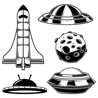 Набор иконок нло космических кораблей