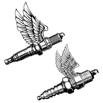 翼を持つスパークプラグのセットです。ロゴ、ラベル、エンブレム、記号の要素。図