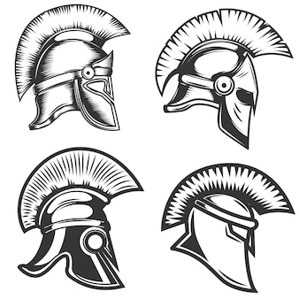 白い背景の上のスパルタンヘルメットイラストのセットです。ロゴ、ラベル、エンブレム、記号の要素。図