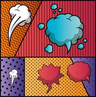 Набор речи пузыри и выражения фоне поп-арт