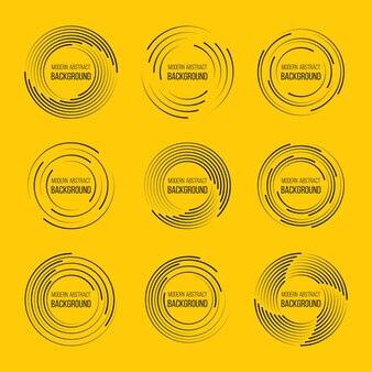 円の形のイラストデザインのスピードラインのセット