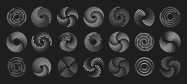 円の形のスピードラインのセット。漫画本の円の形のラジアルスピードライン。