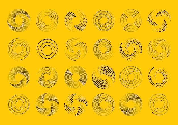円の形のスピードラインのセット。コミック本の円状のラジアルスピードライン。