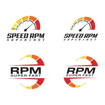 속도계, 속도 rpm 로고 아이콘 디자인 컬렉션 세트