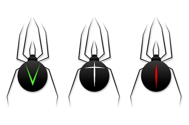 흰색 배경에 거미 아이콘 벡터 일러스트 레이 션의 집합