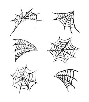 거미줄의 집합입니다. 할로윈 디자인을 위한 손으로 그린 장식용 거미줄 요소입니다. 벡터 일러스트 레이 션.