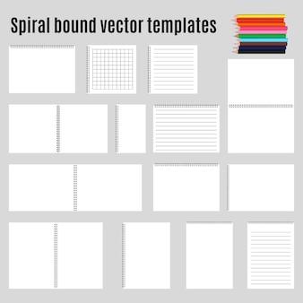 Набор спиральных переплетенных горизонтальных блокнотов и карандаша. коллекция.