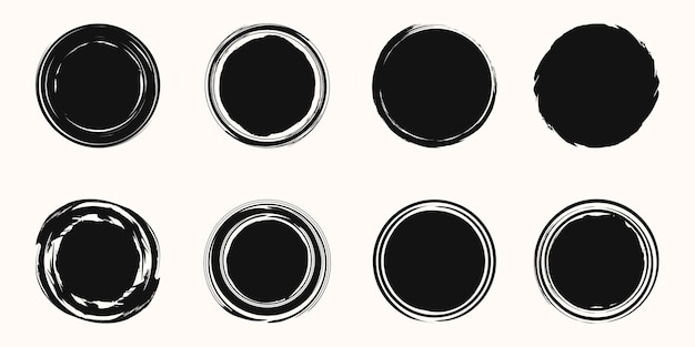 スパイラルブラシストローク要素のセット。渦巻き。丸い形のセット。