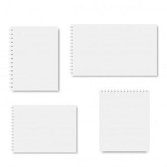 Set of spiral notebook templates