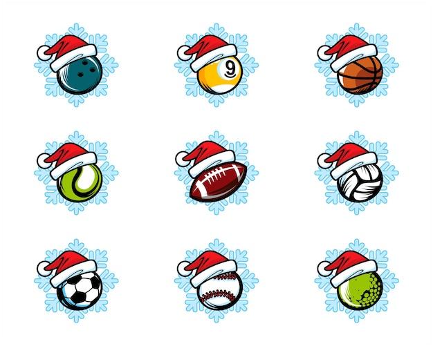 스포츠 공 크리스마스 테마 로고 세트