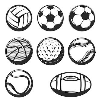 흰색 바탕에 스포츠 공 아이콘의 집합입니다. 로고, 라벨, 엠 블 럼, 사인, 브랜드 마크 요소.
