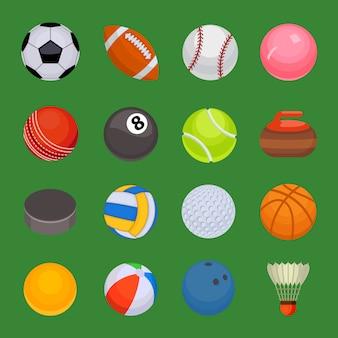 Набор спортивных мячей изолированных вектор.