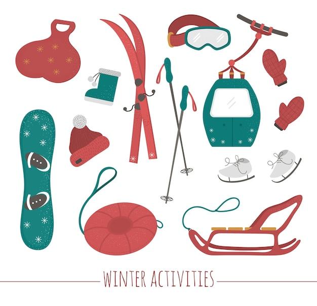 冬のスポーツ活動のためのスポーツ用品のセット。スキー、チューブ、そり、スケート、スノーボード、服のイラスト。