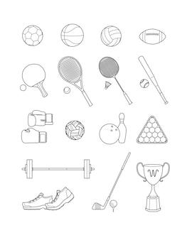 스포츠 아이콘의 집합입니다. 선 벡터 일러스트.