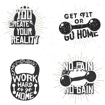 Набор спортивных логотипов, ярлыков спортзалов, вдохновляющих и мотивационных значков