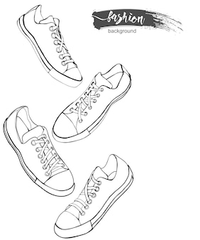 Набор иконок спортивной обуви или кроссовок в различных представлениях sketchvector иллюстрации