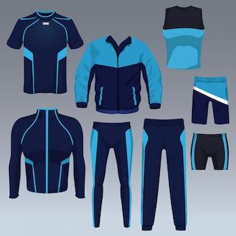 Комплект векторной коллекции спортивной одежды